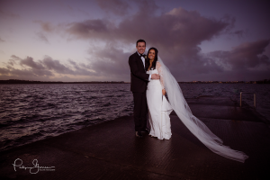 wedding bride and groom nightime shot