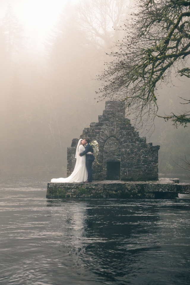 Bride and Groom in the fog